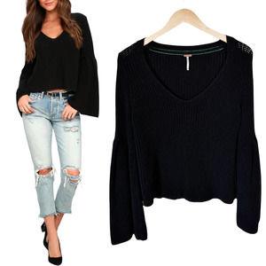 FREE PEOPLE Damsel Black Sweater Bell Sleeves S